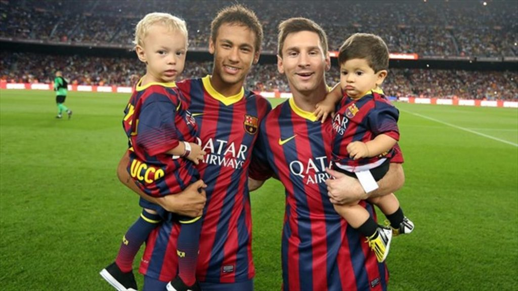 Neymar et Messi avec leur fils